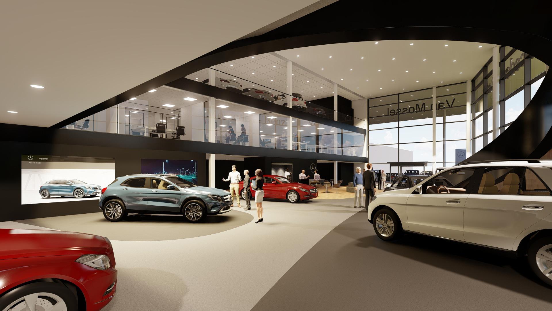 Artist Impression Nieuwbouw Van Mossel Mercedes-Benz showroom Rotterdam (Charlois)